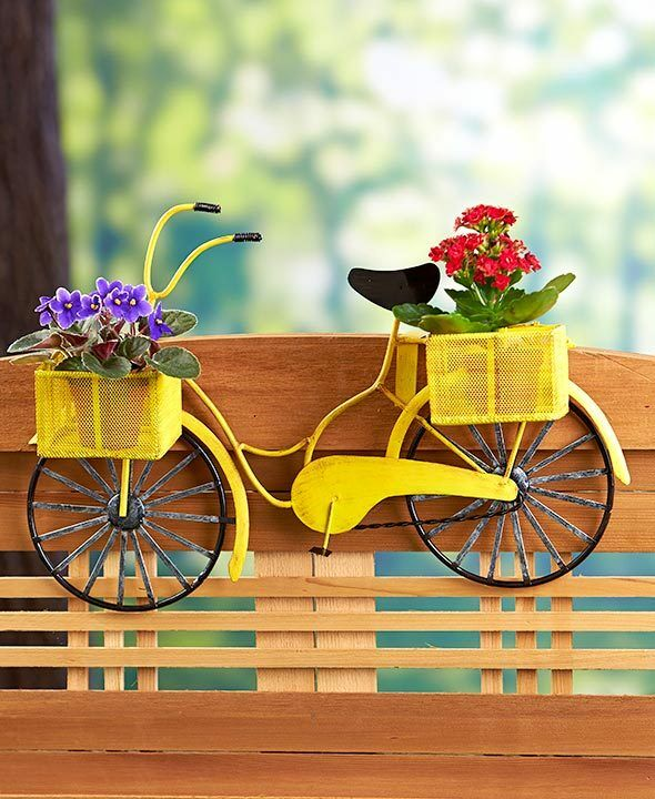 1000 Images About Garden Containers Deck Railing On: Railing Flower Planter Vintage Bicycle Shaped