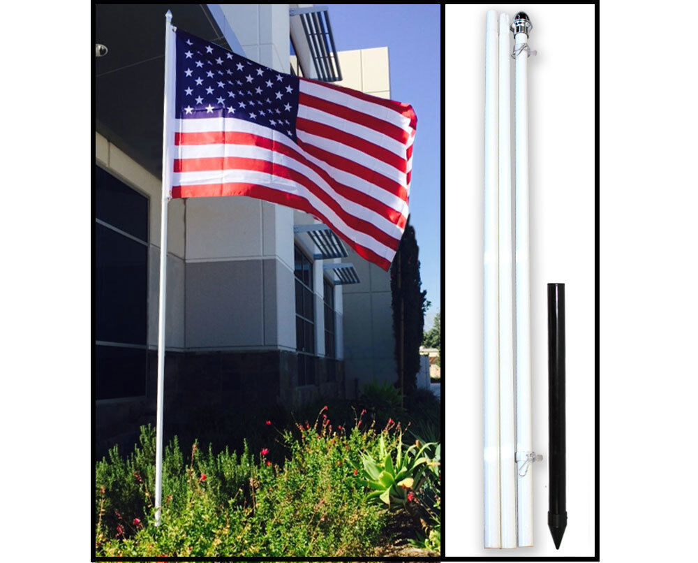 yard flag pole 10ft white steel outdoor flag pole kit ground spike shock 1204