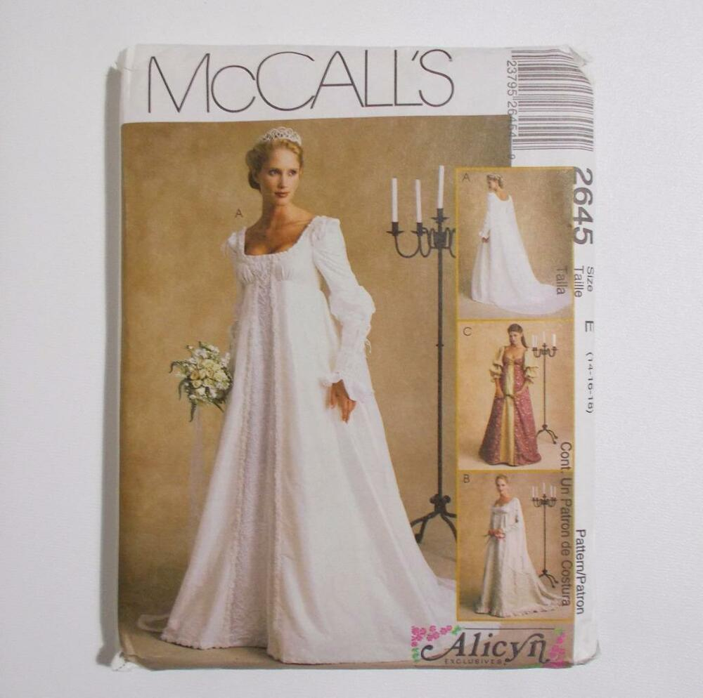 Renaissance Wedding Dress Costume History Mccall S By Heychica: McCalls 2645 Medieval Wedding Gown Pattern Size E 14 16 18