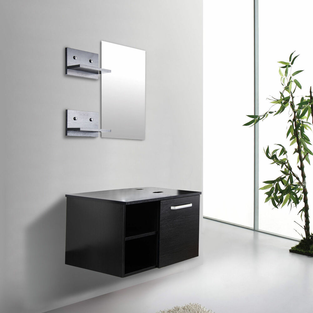 wall mount floating vanity cabinet mirror shelf espresso black ebay