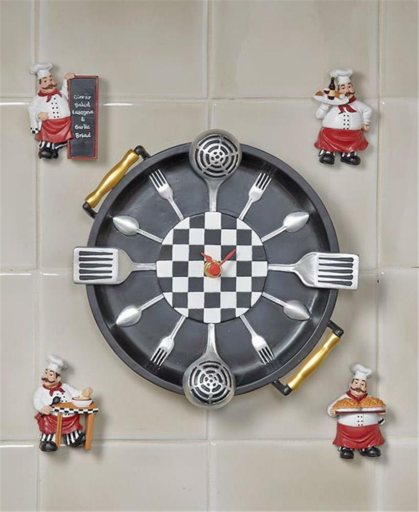 Chef Decor For Kitchen: CHEF THEMED FIVE-PIECE WALL CLOCK AND MAGNET SET KITCHEN