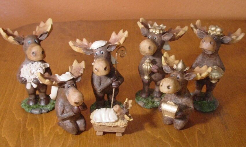7 piece moose nativity scene set faux carved cabin wood for Decor 7 piece lunch set
