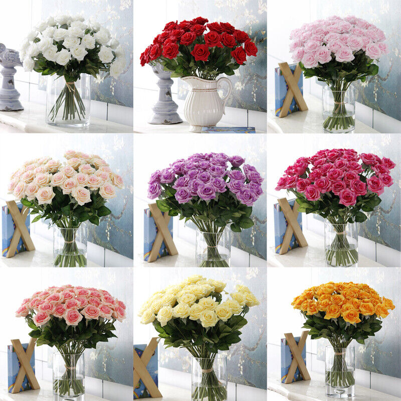 Artificial silk fake rose flowers wedding party home for Artificial flowers for wedding decoration