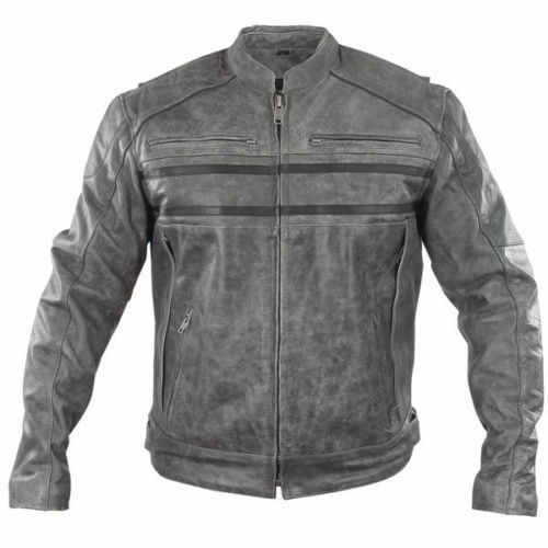 Xelement Sigma Men's Distressed Grey Leather Motorcycle ...