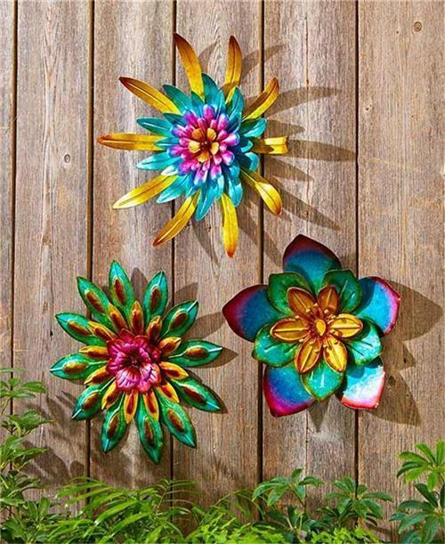 Indoor outdoor metallic layered garden flower wall hanging for Outdoor garden wall decor