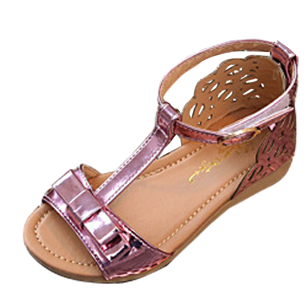 Kids Baby Girls Ankle Strap Sandals Children Faux Leather ...
