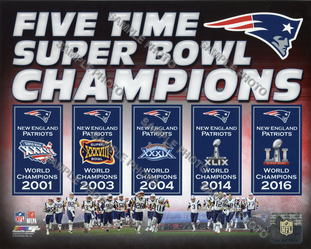 new england patriots 5 time super bowl champions banners 8x10 photo