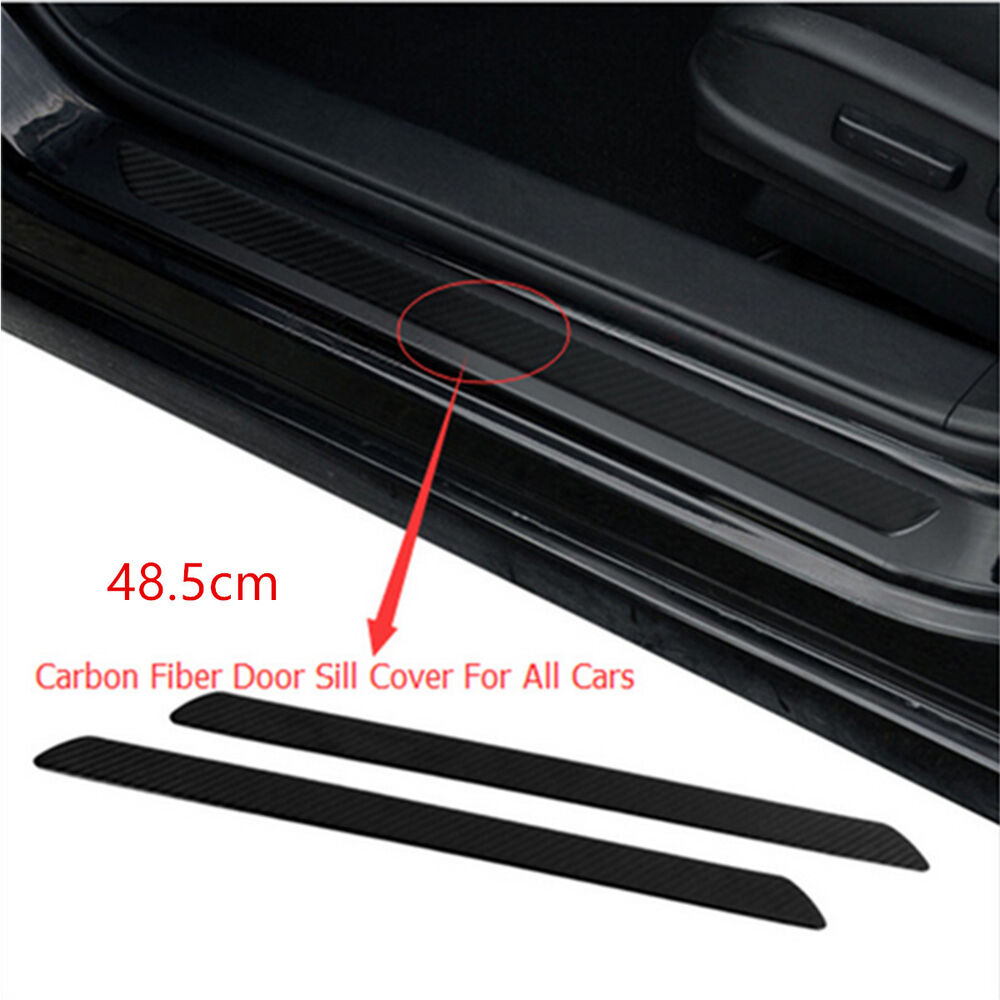 2pcs waterproof carbon fiber car door sill scuff cover plate panel protect trim ebay. Black Bedroom Furniture Sets. Home Design Ideas