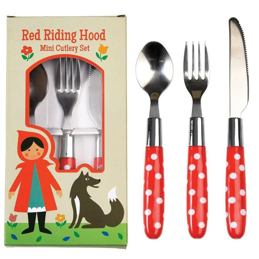 Details About New Rex Kids Mini Cutlery Set Fork Spoon Knife Red Riding Hood
