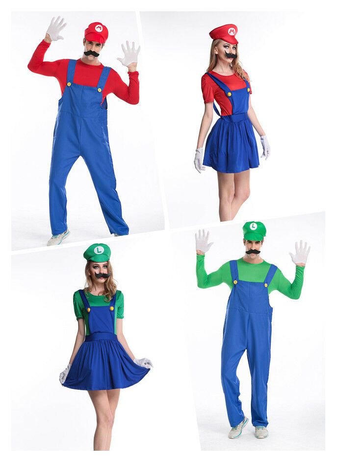 m nner frauen super mario und luigi bros kost m kleid outfit rollenspiel ebay. Black Bedroom Furniture Sets. Home Design Ideas