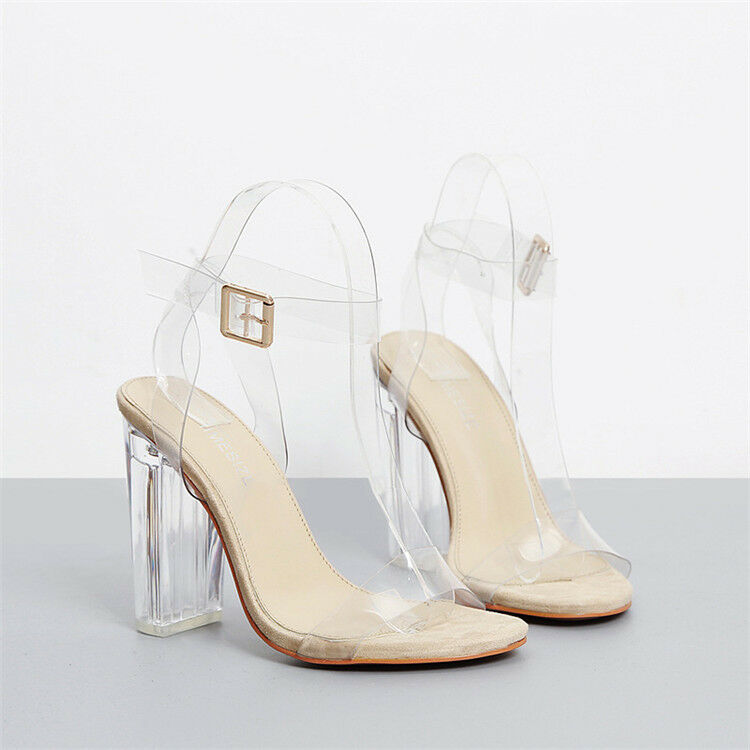 2017 s transparent sandals clear high heels ankle