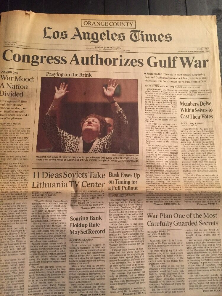 Image result for congress authorizes the gulf war in 1991