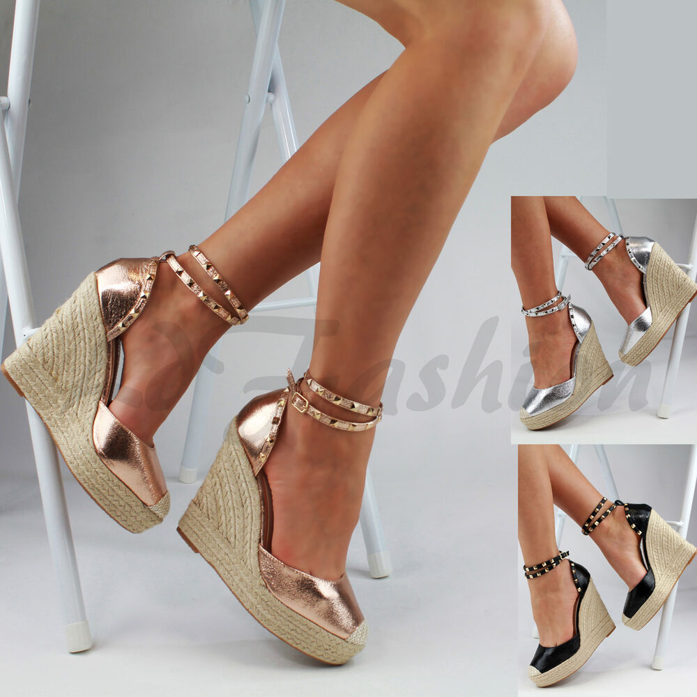 New Womens High Wedge Heel Platform Sandals Ankle Strap