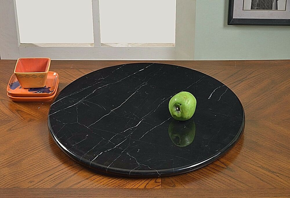 24 quot black or gray modern marble lazy susan rotating