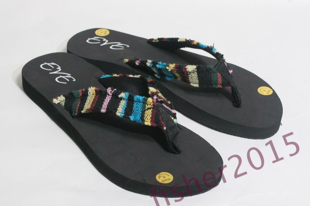 efd718664e7613 Details about New Women s Eve Frayed Casual Beach Summer Flip Flops Thongs  Sandals Shoe s 6-11