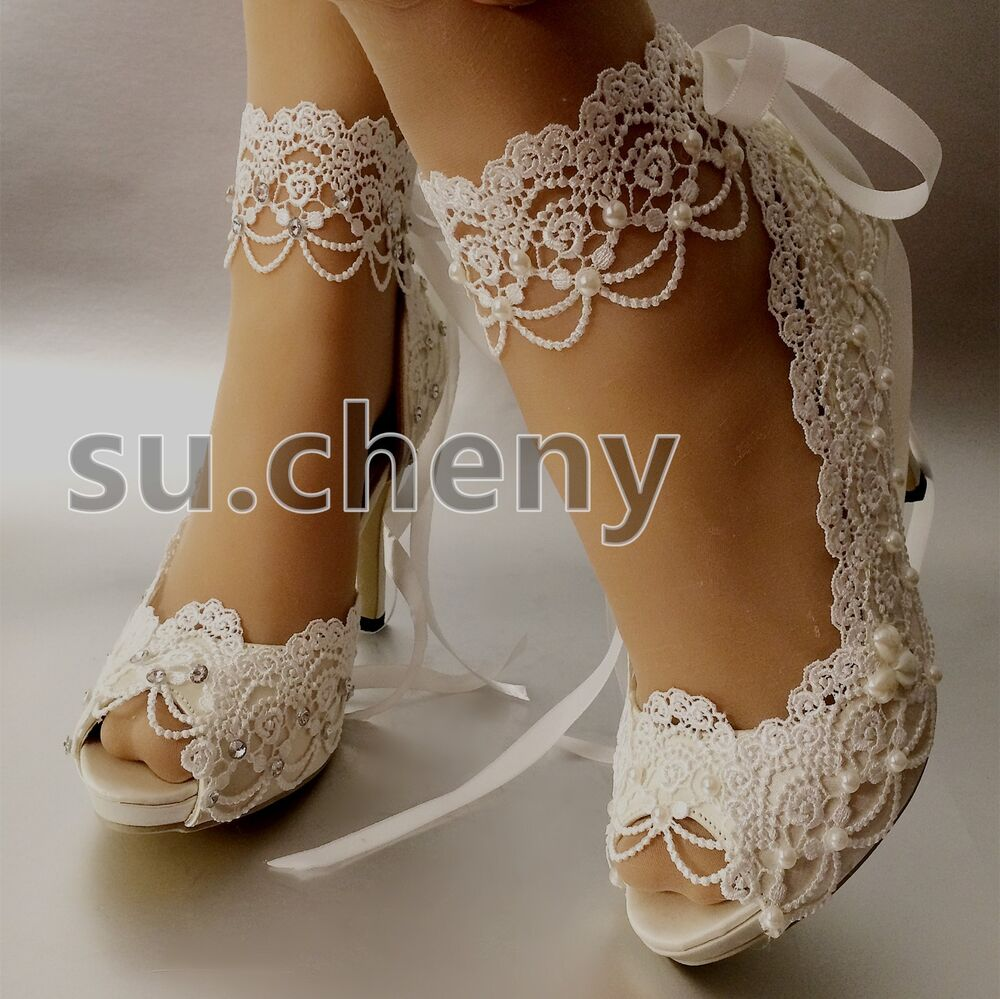 "3"" 4"" Heel White Ivory Satin Lace Ribbon Open Toe Wedding"