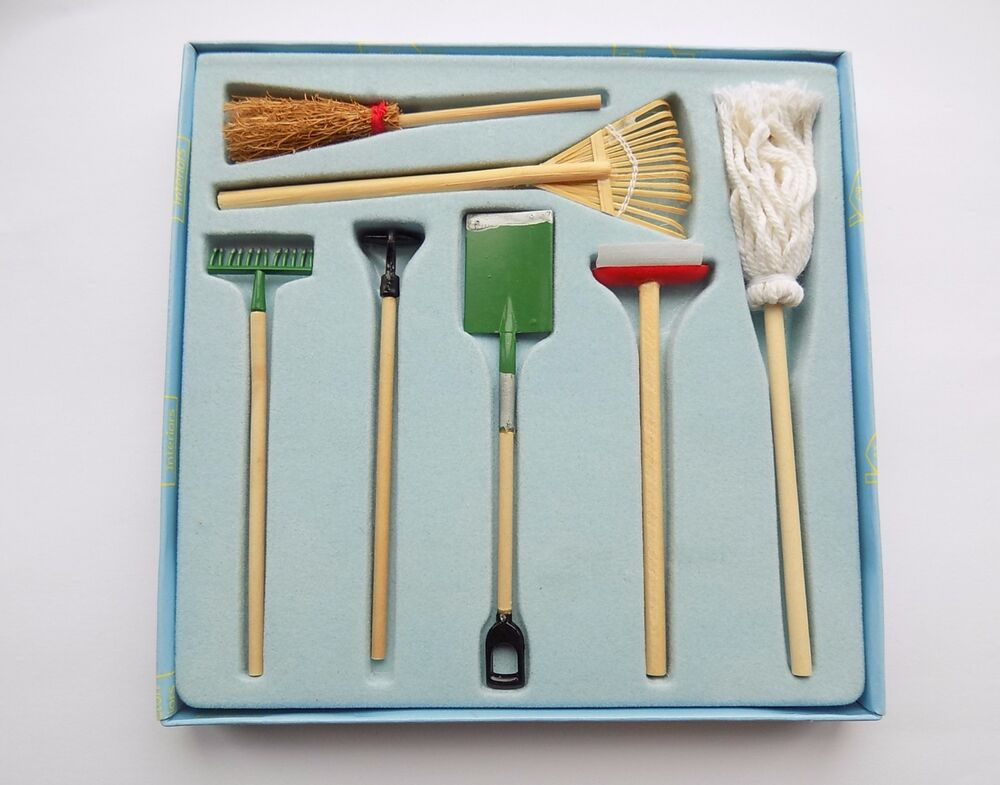 Hickleton dolls house furniture miniature garden tools set for Garden tools for 18 inch doll