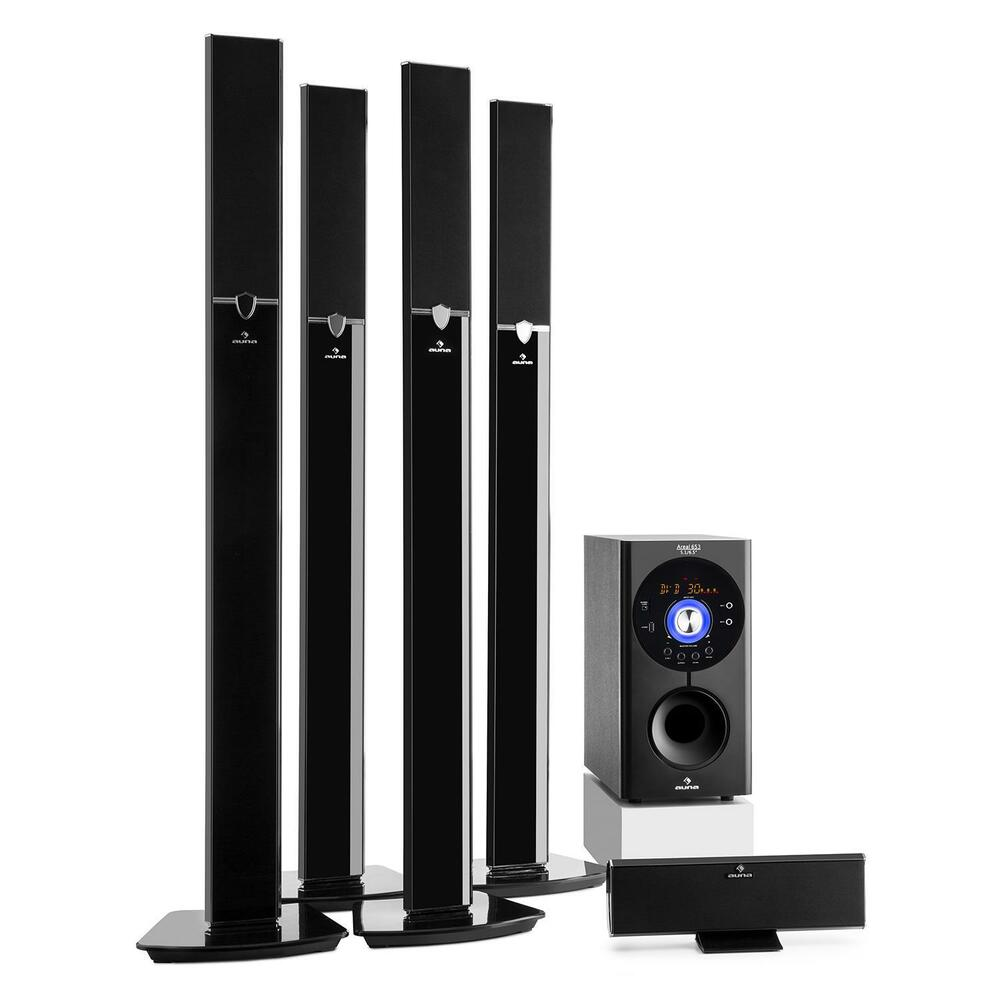 auna 5 1 home cinema surround sound loud speaker system. Black Bedroom Furniture Sets. Home Design Ideas