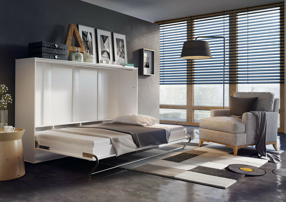 Modern Horizontal Wall Hidden Fold Away Pull Out Murphy Bed 3 Sizes White Gloss