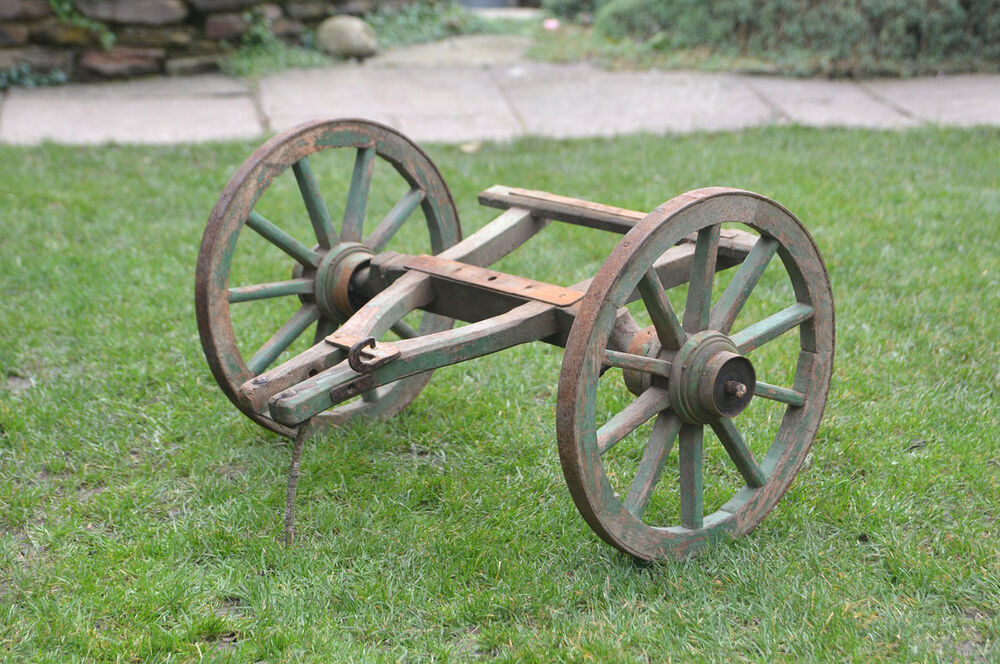 Cart Front Axle : Old vintage dog cart pony front with wooden wheels