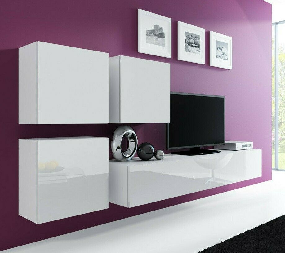 wohnwand bruno 23 tv lowboard mdf h ngend farbauswahl hochglanz h ngwand ebay. Black Bedroom Furniture Sets. Home Design Ideas