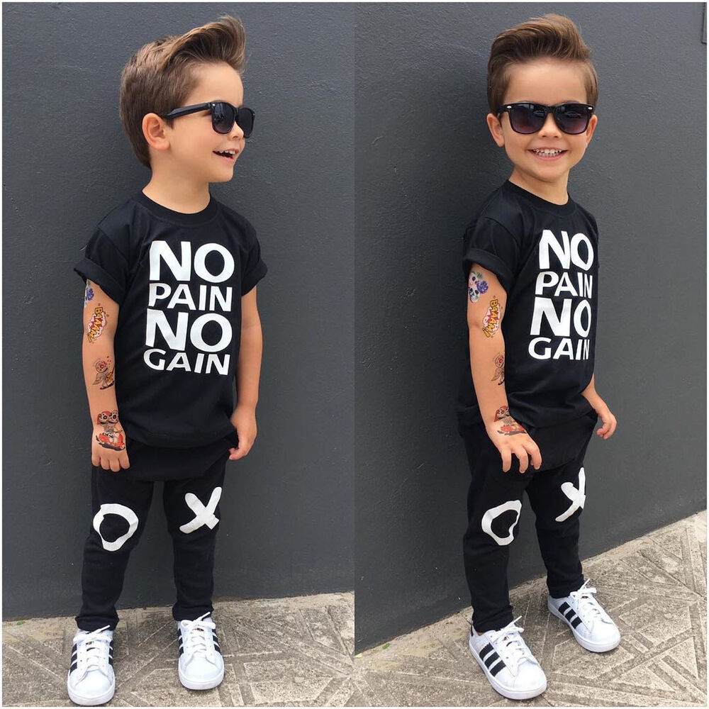 Uk 2pcs Toddler Baby Boy Kids T Shirt Tops Pants Outfits