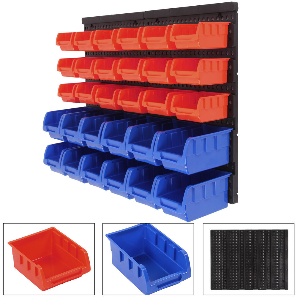 30 Pcs Plastic Bins Wall Mounted Storage Garage Tools