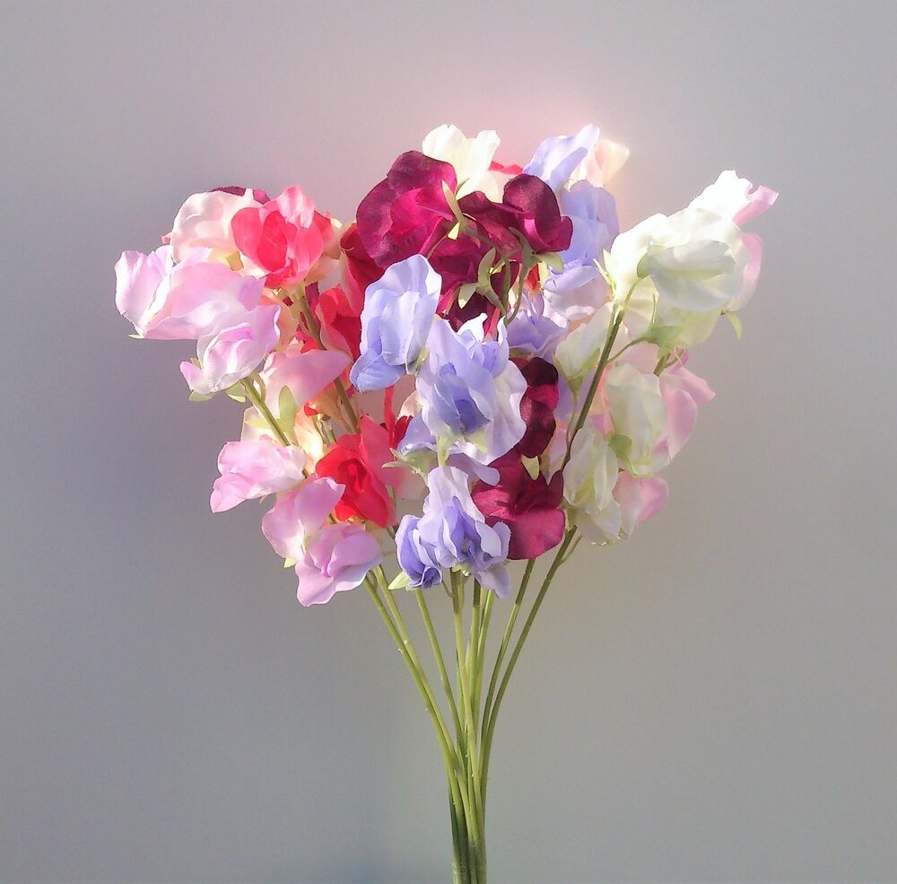 Artificial Silk Flowers 12 Sweet Peas Stems In Mixed Colours Ebay