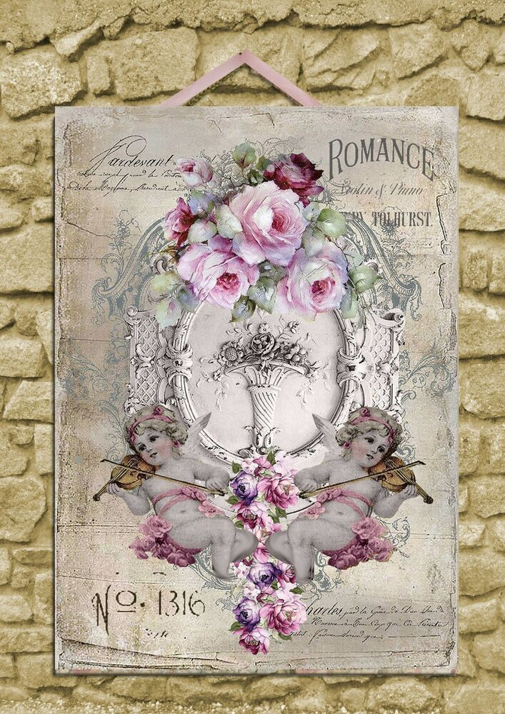shabby chic wall plaque art print decor cherubs roses 28 x 40 a3 ebay. Black Bedroom Furniture Sets. Home Design Ideas