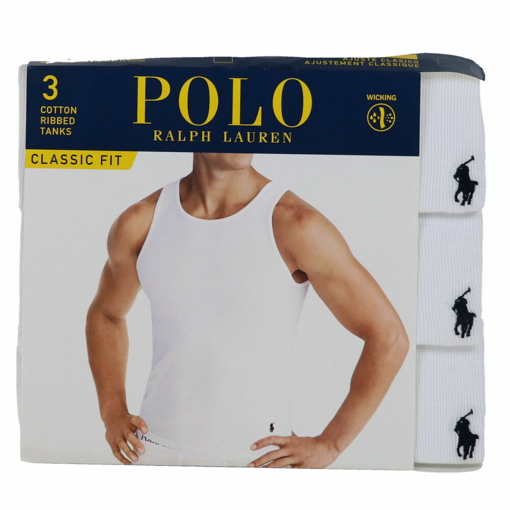 eee7d4eb40820 Details about Polo Ralph Lauren Undershirts Mens Tank Tops 3 Pack Classic  Fit Ribbed Pony Logo