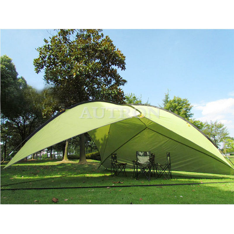 Tent Portable Shelter : Green triangle shade shelter beach canopy camping hiking