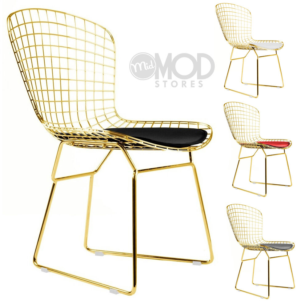 Wire side chair gold wireback mid century modern mesh for Modern metal chairs