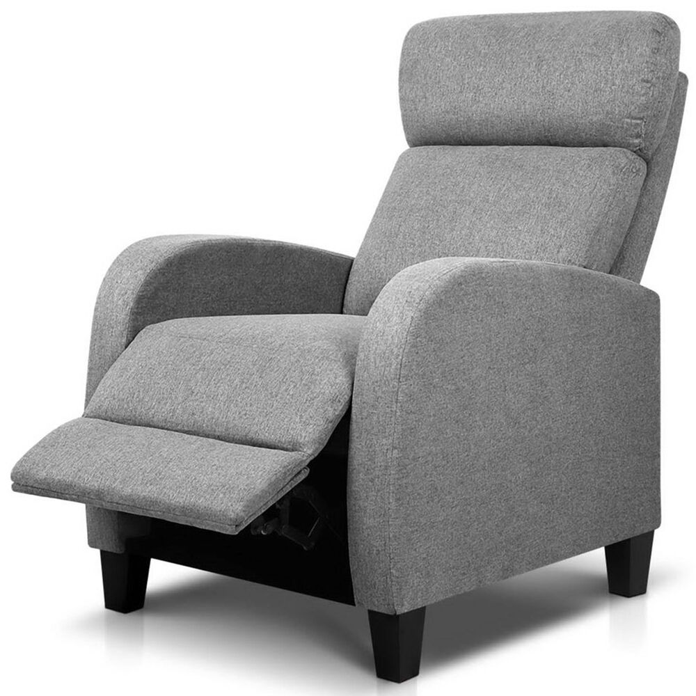 Linen Fabric Modern High Back Armchair Recliner Lounge Sofa Seat Grey EBay