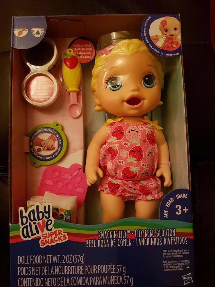Baby Alive Snackin Lily Blonde Baby Doll New In Hand