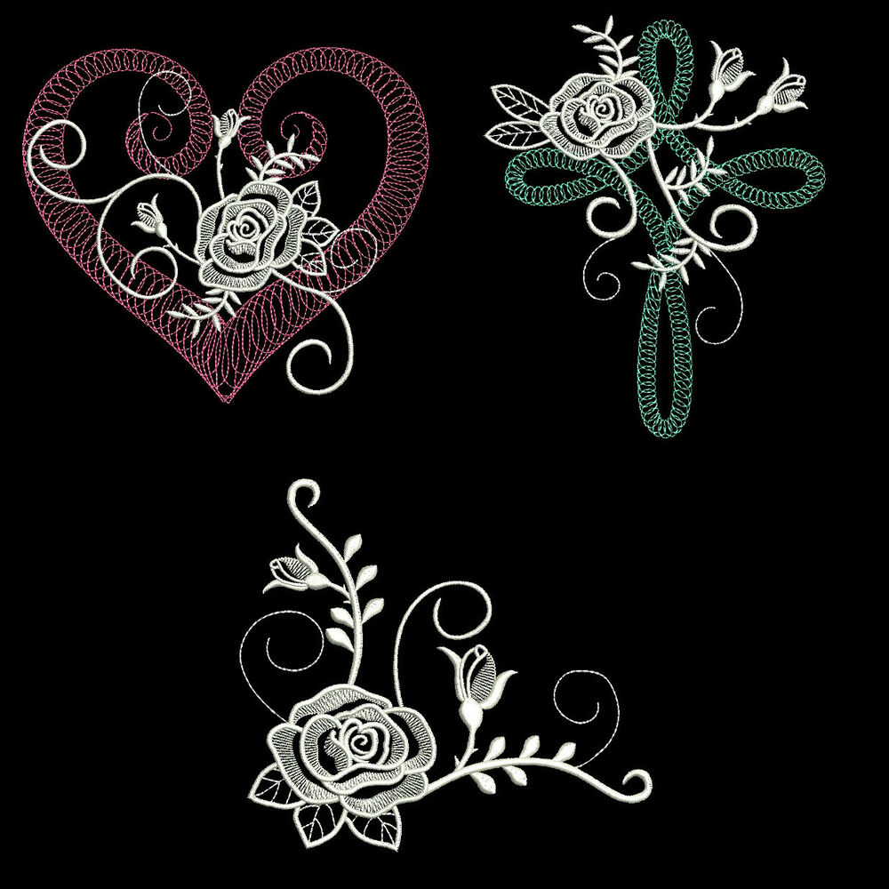 White rose inch size machine embroidery designs