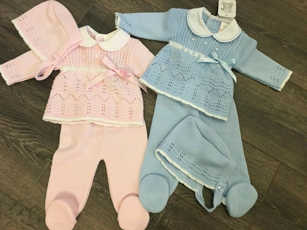 65b3345e4ef3 Baby babies girl girls knitted pram suit suits leggings top hat blue outfit  gift