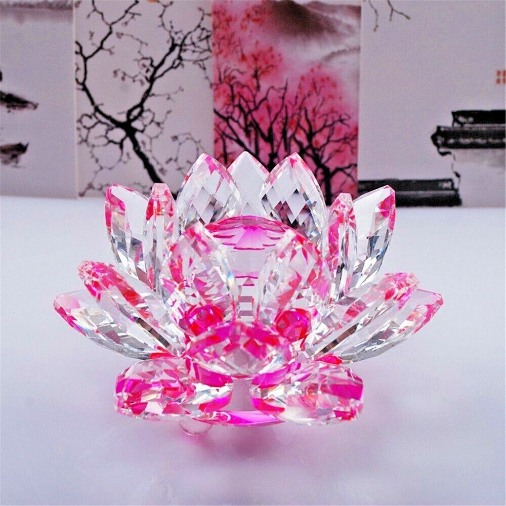 Large Pink Crystal Lotus Flower Ornament With Gift Box Crystocraft