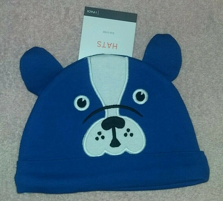 Details about NEW Target Brands Inc 0-6 Months Blue Puppy Dog Face Baby Hat  Cap~Boy d1052a61f19