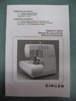 MANUAL Singer 14SH744 14CG744 14SH754 14CG754 Sewing Overlock Serger Machine
