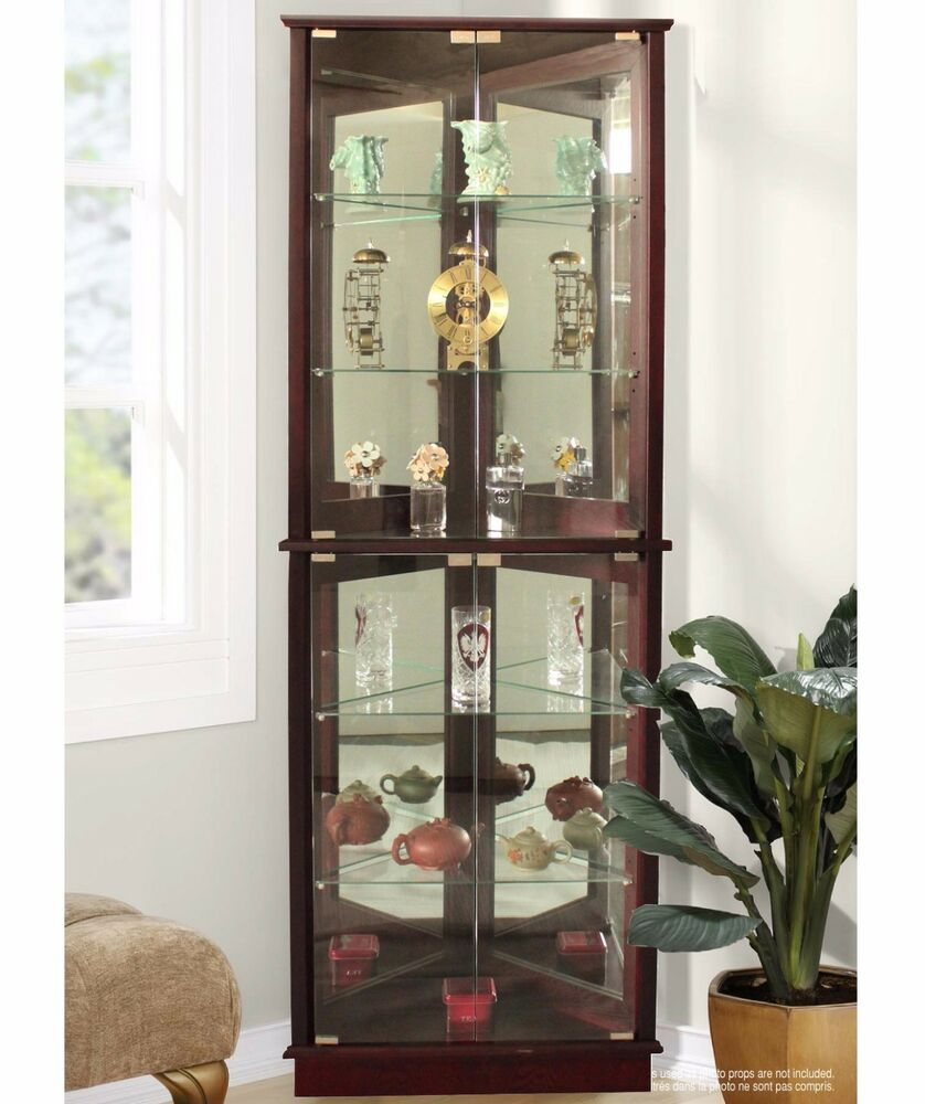 lighted curio cabinet storage tall corner 5 shelves mirrored display furniture 791954260311 ebay. Black Bedroom Furniture Sets. Home Design Ideas
