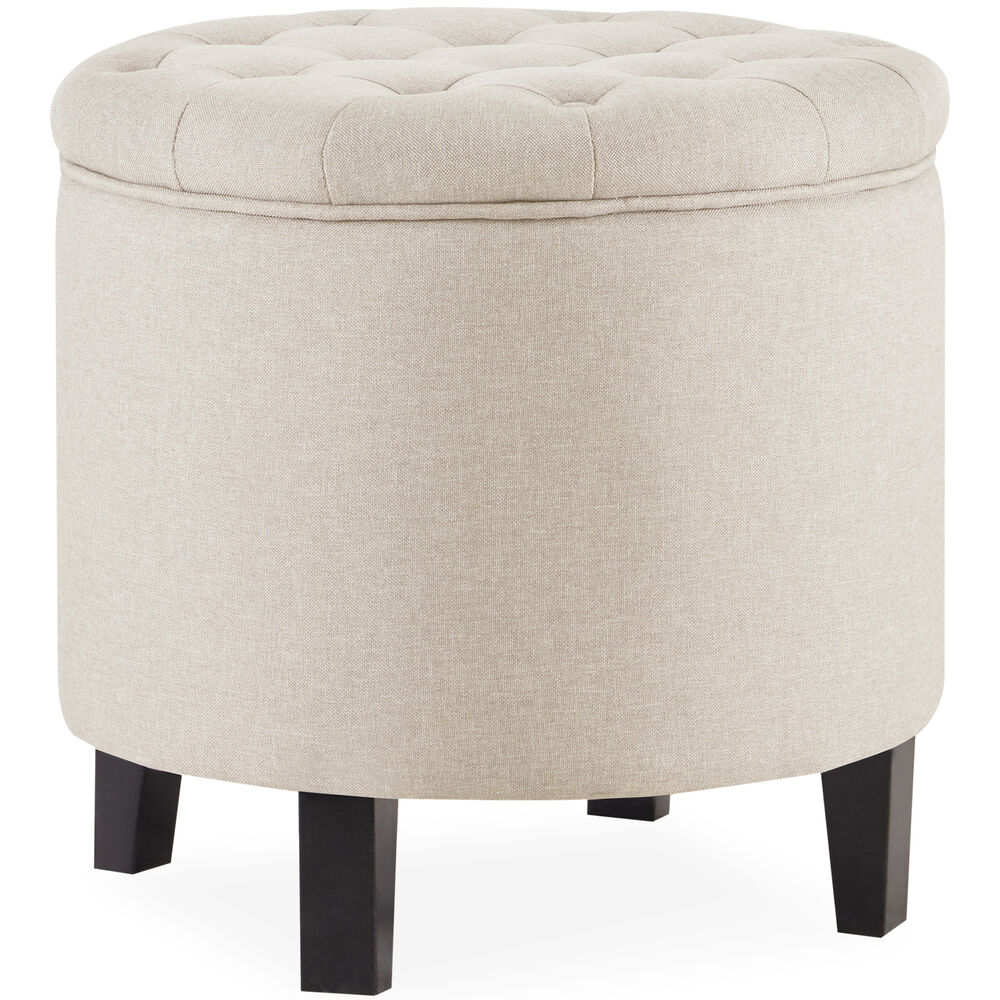 Beige Trunk Coffee Table: Elegant Beige Storage Ottoman Coffee Table W/ Button