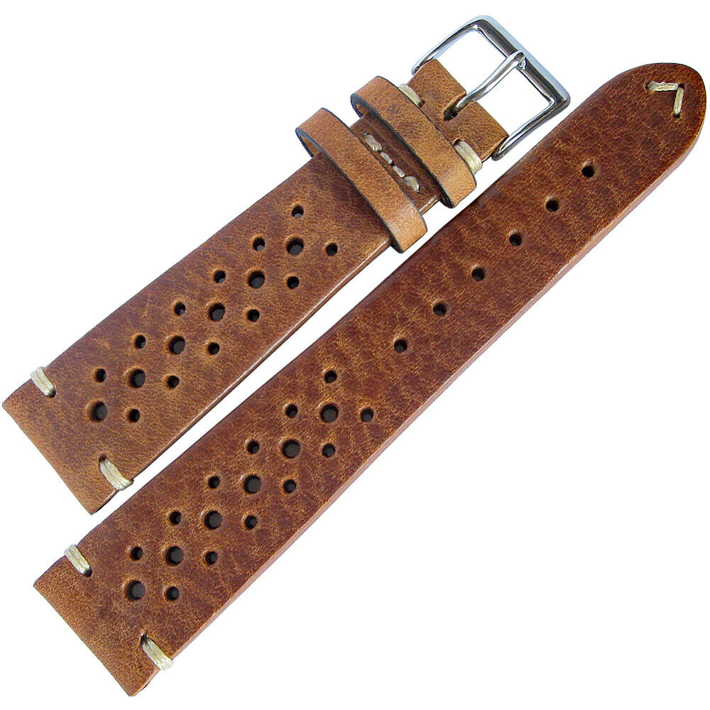 19mm fluco hunter racing rally tobacco brown german leather watch band strap ebay for Leather strap watches