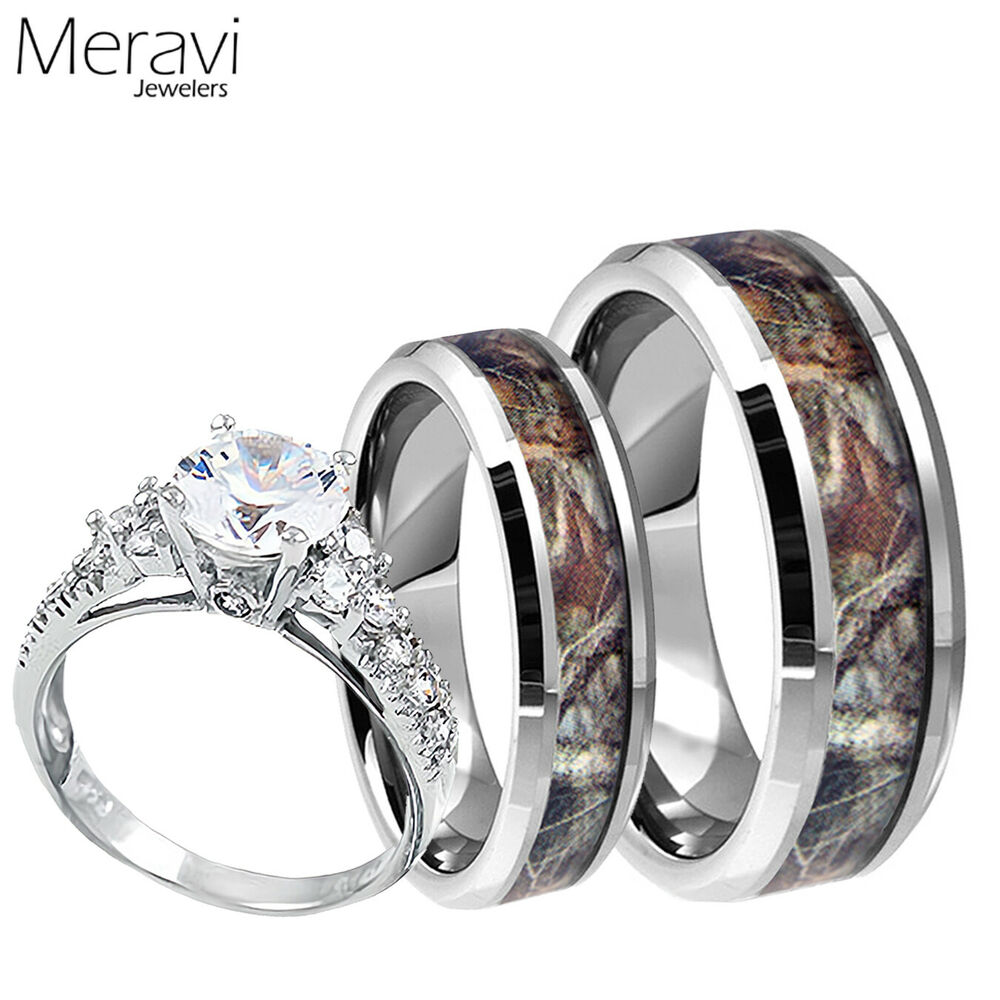 wedding rings camo womens 925 sterling silver ring mens titanium mossy forest 1019
