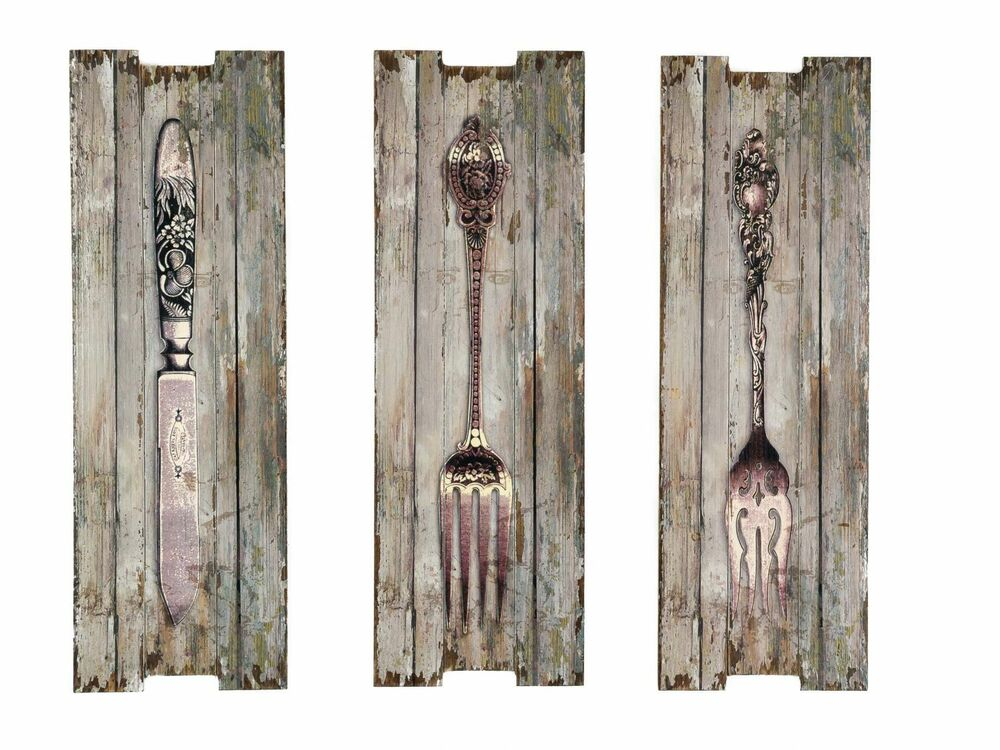 3x bild wandtafel messer gabel wandbild besteck k che restaurant shabby chic ebay. Black Bedroom Furniture Sets. Home Design Ideas