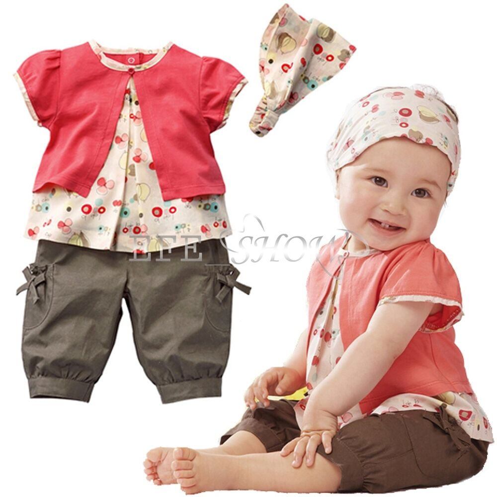 new 3pcs toddler baby infant girls outfits headband tops pants kids clothes set ebay. Black Bedroom Furniture Sets. Home Design Ideas