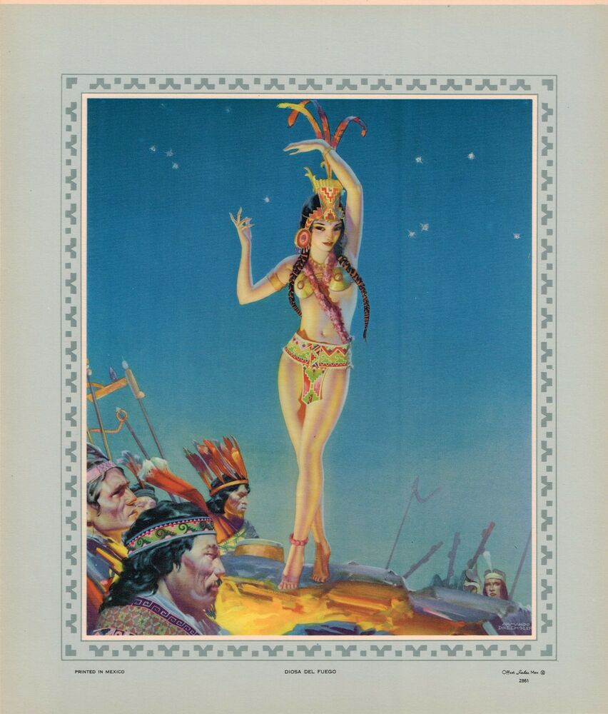 Mexican Calendar Girl Art : Vintage mexican calendar print pin up c original