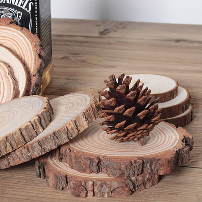 100pcs unfinished wood cutouts wooden circles tree slices for Wooden craft supplies online