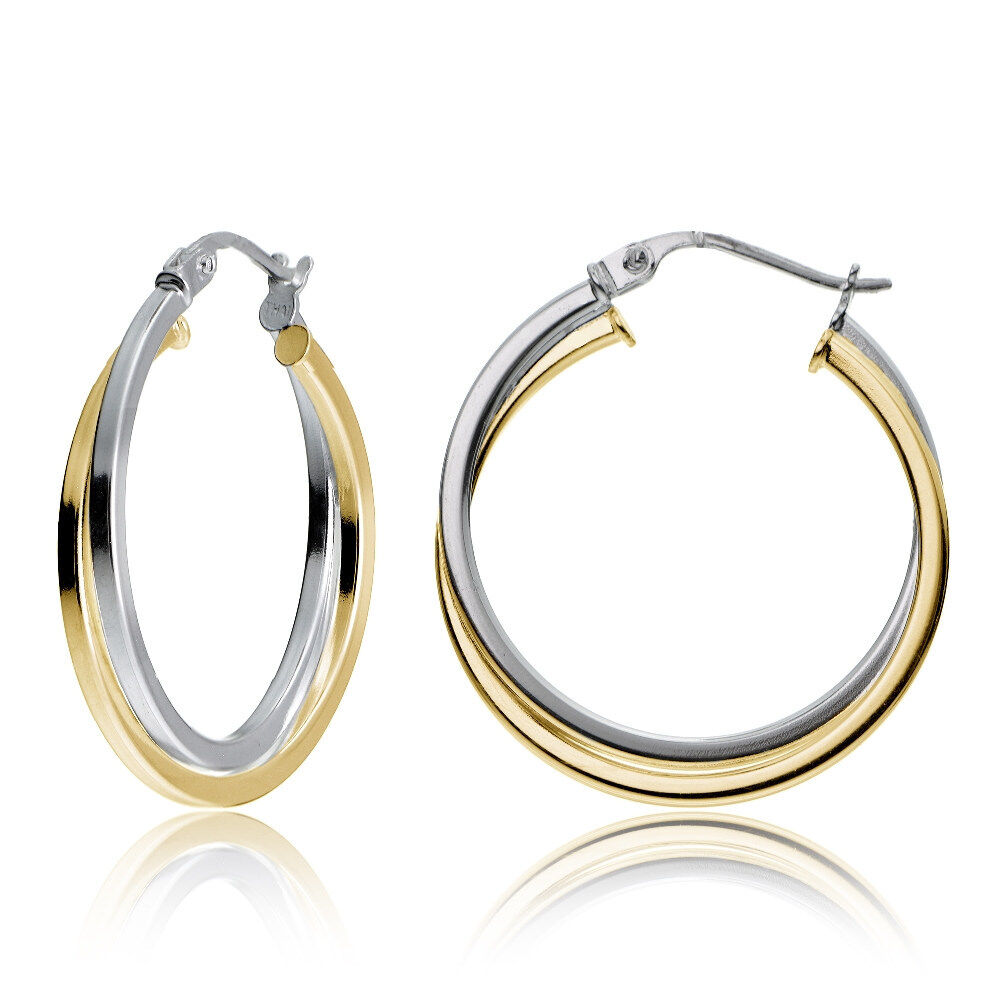 Yellow Gold Flashed Silver Twotone Intertwining Square Tube Hoop Earrings,  25mm  Ebay