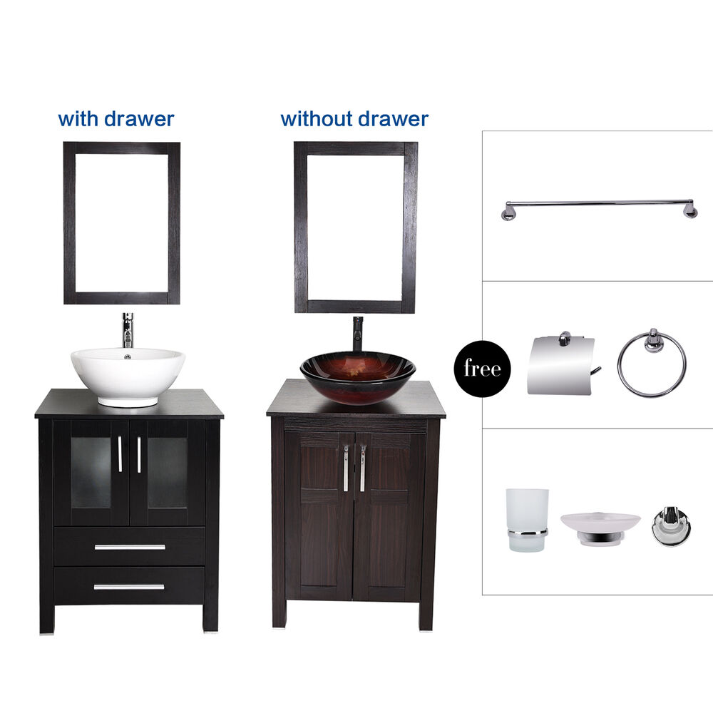 Bathroom Vanity Cabinet Vessel Sink Bath Accessory Set Mirror Faucet Drain Combo Ebay