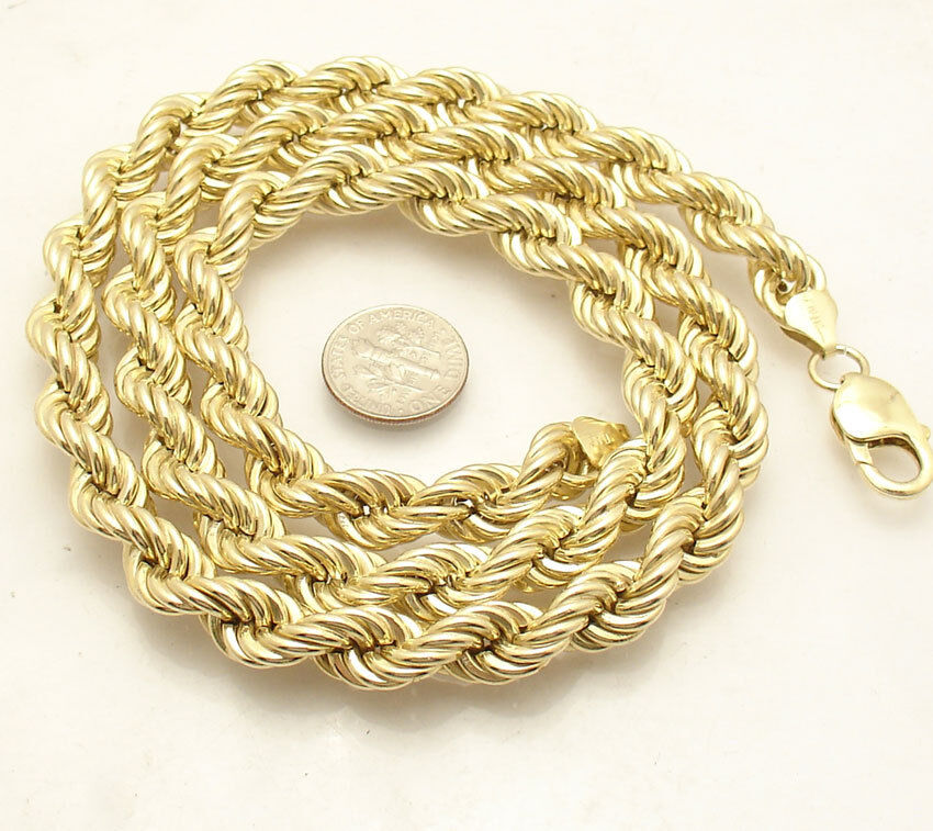 9mm Twisted Rope Link Chain Necklace 14k Yellow Gold Clad